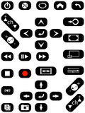 视频音频的按钮 库存图片