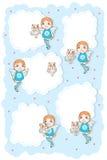 角度孩子猫逗人喜爱的云彩卡片 免版税图库摄影