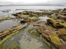 角度岩石岸被射击的潮汐宽 免版税图库摄影
