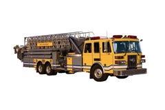 角度查出的装备长梯的消防车 库存照片