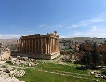 角度baalbeck宽黎巴嫩视图 免版税库存图片