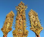 角度deva金黄雕象泰国三角 库存照片