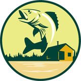 角膜白斑Fish湖小屋减速火箭客舱的圈子 皇族释放例证