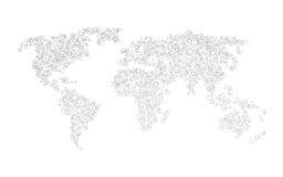 黑角规世界地图  免版税库存照片