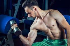 解决与哑铃的英俊的肌肉人在健身房 体型、体育和健身生活方式 免版税库存图片