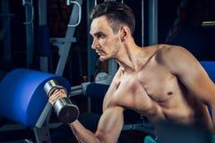 解决与哑铃的英俊的肌肉人在健身房 体型、体育和健身生活方式 库存照片