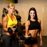 解决与在健身的哑铃的两名美丽的妇女 免版税库存照片