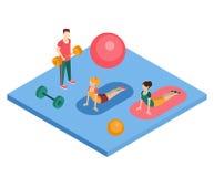 解决在健身房的人们 免版税库存图片