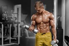解决在健身房的肌肉人做与哑铃的锻炼在二头肌,强的男性赤裸躯干吸收 图库摄影