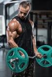 解决在健身房的肌肉人做与杠铃的锻炼在二头肌,坚强的男性爱好健美者 库存图片