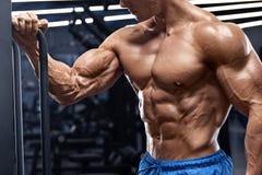 解决在健身房的肌肉人做二头肌的锻炼 强的男性赤裸躯干吸收 库存照片