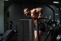 解决在健身房的肌肉爱好健美者做在paral的锻炼 免版税库存照片