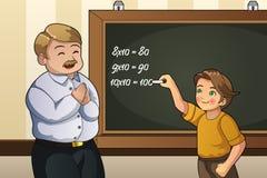 解决在类的学生数学题 库存例证
