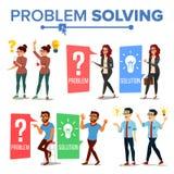 解决问题概念传染媒介 想法的男人和妇女 问号,电灯泡 创造性的项目想法 问题,麻烦 向量例证