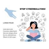 解决cyberbyllying的问题的帮助少年 库存例证