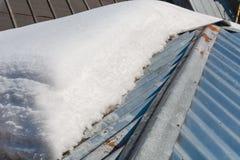 解冻在屋顶的雪 雪在屋顶解冻了 免版税图库摄影