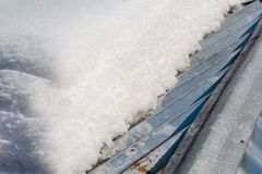 解冻在屋顶的雪 雪在屋顶解冻了 免版税库存图片