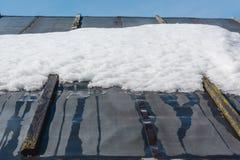 解冻在屋顶的雪 雪在屋顶解冻了 免版税库存照片