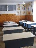 解剖学教室与书桌的 免版税库存图片