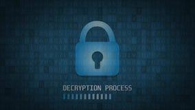解密过程 存取授予了 黑客,计算机编码 4K 皇族释放例证