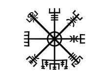 解码古老标志古代挪威人 Vegvisir北欧海盗指南针 北欧海盗在依照使用了许多标志对扎线Wiccan 库存例证