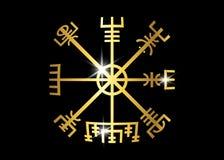 解码古老标志古代挪威人 Vegvisir北欧海盗金黄指南针 北欧海盗使用了许多标志 皇族释放例证