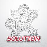 解答文本,有创造性的图画图和图表企业成功战略计划想法,启发概念现代设计临时雇员 免版税库存图片