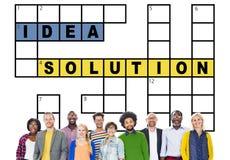 解答解决结果纵横填字谜概念的想法计划 免版税库存图片