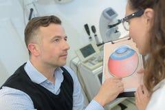解释眼睛问题对患者 免版税图库摄影