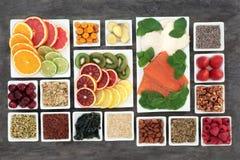 解除重音和忧虑的超级食物 库存图片