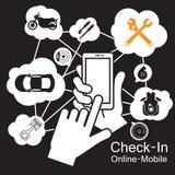 触摸屏巧妙的电话,摩托车汽车车库 免版税库存图片