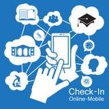 触摸屏巧妙的电话,教育学会 免版税库存图片
