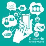 触摸屏巧妙的电话,流动商业 免版税库存照片