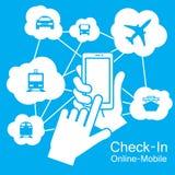 触摸屏巧妙的电话,运输旅行 图库摄影