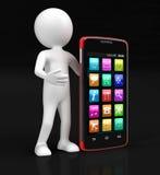 触摸屏幕智能手机和人(包括的裁减路线) 免版税库存照片