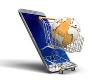 触摸屏幕智能手机和手提篮与地球 免版税库存照片