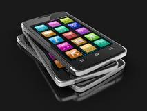 触摸屏幕智能手机(包括的裁减路线) 库存照片