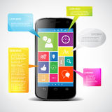 触摸屏幕智能手机 免版税库存图片