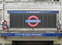 詹姆斯・伦敦公园地下st岗位 库存图片
