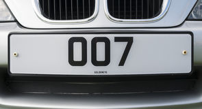 詹姆斯庞德007个人化的车号牌 库存图片
