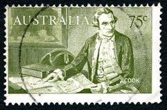 詹姆斯・库克上尉澳大利亚邮票 免版税库存图片