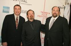 詹姆斯・甘多尔菲尼、约翰・特拉沃尔塔和托德鲁宾逊 免版税图库摄影