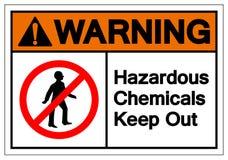 警告危害化学制品把标志标志,传染媒介例证,在白色背景标签的孤立关在外面 EPS10 库存例证