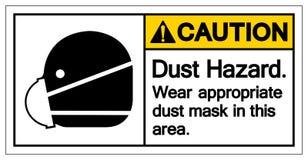 警告在这个区域标志标志的尘土危险穿戴适当的防尘面具,传染媒介例证,隔绝在白色背景标签 库存例证