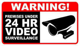 警告录影Surveilance 免版税库存照片