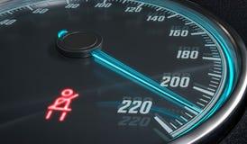 警告的安全带在汽车仪表板的光量控制 3d被回报的例证 免版税库存照片