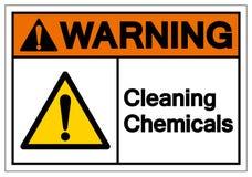 警告的清洗的化学符号标志,传染媒介例证,在白色背景标签的孤立 EPS10 免版税库存照片