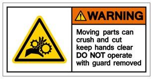 警告的运动机件易碎和切开保留手清楚的标志标志,传染媒介例证,隔绝在白色背景标签 EPS10 库存例证