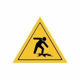 警告稀薄的冰标志传染媒介设计 库存图片