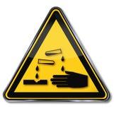 警告腐蚀物和化学制品 库存例证